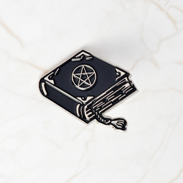 Witch Divination Book Magic Gothic Dark Collectible Lapel